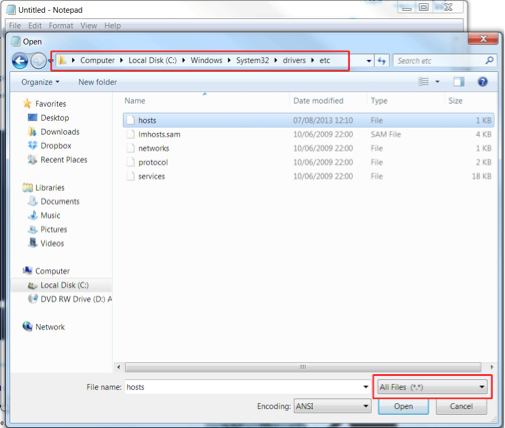 Update Hosts File Windows 7 and 8 Open The File