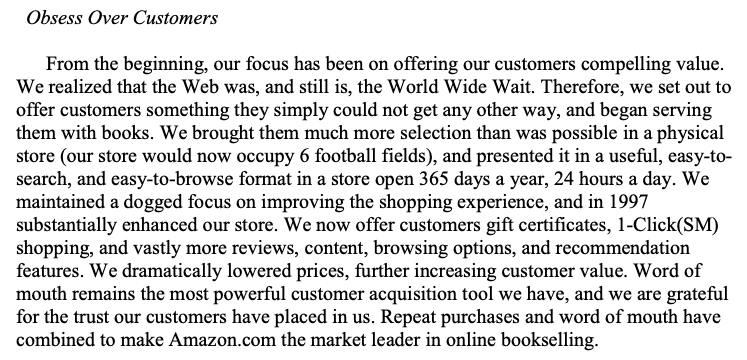 amazon-shareholder-letter-1997-obsess-over-customers-paragraph